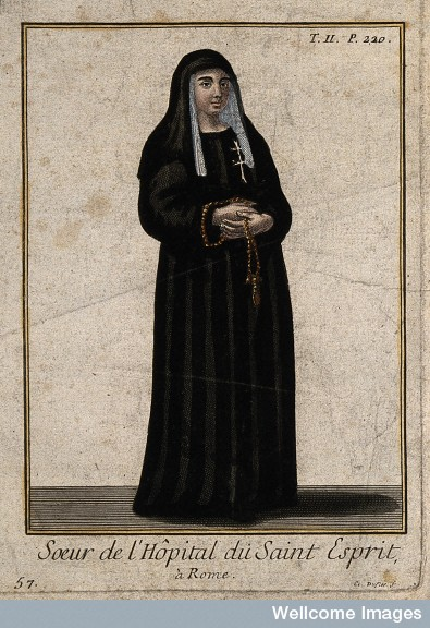 V0015186EL A nun from the Order and Hospital of St. Esprit. Coloured li