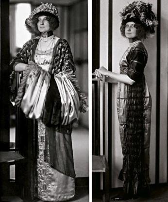 Emilie Flöge en el salón de moda 1910 llevando sus modelos